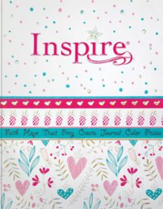 Inspire Bible for girls book cover coloring creative journaling Bible